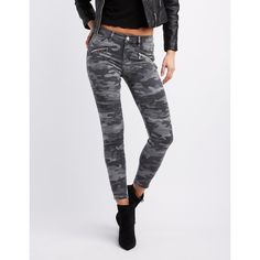 Refuge Camo Moto Skinny Jeans ($25) ❤ liked on Polyvore featuring jeans, multi, refuge jeans, patch jeans, stacked skinny jeans, camouflage skinny jeans and skinny fit denim jeans