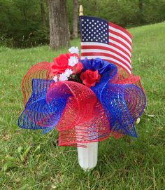 Patriotic Cemetery Vase Red White Blue Roses and Deco Mesh American Flag Display… Grave Flowers, Cemetery Flowers, Funeral Flowers, Silk Flowers, Graveside Decorations, Cemetary Decorations, Cemetery Vases, Patriotic Decorations, Holiday Decorations