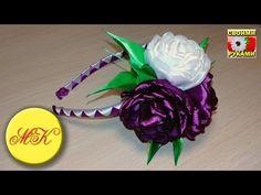 Horquilla para el cabello con una flor en Tecnología kanzashi - YouTube