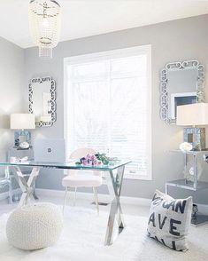 46 Inspiring Spring Home Office Decorating Ideas Home Office Design, Home Office Decor, Office Ideas, Decoration Ikea, Cool Office Space, Ideas Hogar, White Office, Spring Home, Home Office Furniture