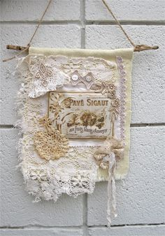 Wall Hanging Shabby French Collage Vintage by Cathyscrazybydesign. $16.00, via Etsy.