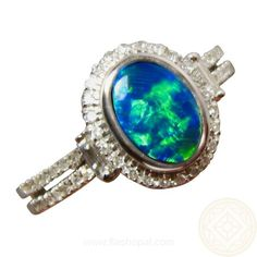 Opal Ring with Diamonds in 14k Gold.  Green and Blue Lightning Ridge Opal.