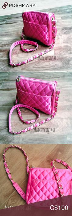 I just added this listing on Poshmark: omg CUTE! Neon Pink Quilted Bag w Gold Chain Strap. Retro Fashion, Vintage Fashion, 80s Neon, Quilted Bag, Art Deco Jewelry, Vintage Accessories, Gold Chains, Pink And Gold, Vintage Items