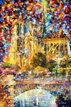 Notre Dame De Paris — PALETTE KNIFE Oil Painting on Canvas by AfremovArtStudio, $239.00