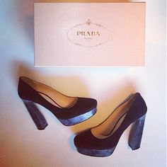 """Rare Prada Suede and Reptile Pumps size 40/ 9 The classic and unique design of this platform pump makes it the perfect addition to your shoe collection. Beautiful black suede Prada shoes w/ deep grayish/ purplish blue reptile  heel & platform. Made in Italy. No box. Suede upper Reptile-embossed leather trim Square toe Fully lined in leather, leather sole ¾"""" platform, 4½"""" sculpted heel Leather sole Discount to account for slight wear on reptile areas- SEE PICS& addt'l listing! Reasonable…"""