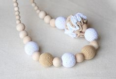 Nursing Breastfeeding necklace - Tan White Teething  necklace -Made to Order on Etsy, $25.00