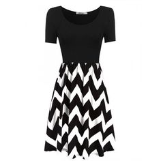 Women Short Sleeve Wave Patchwork Casual Pleated Dress