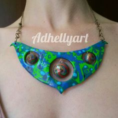 Mokume gane and lentil beads necklace - Polymer clay - Fimo