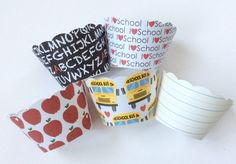 Back To School Cupcake Wrappers Apples Bus by welldressedcupcakes