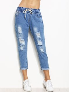 Shop Blue Ripped Rolled Hem Drawstring Jeans at ROMWE, discover more fashion styles online. Cheap Ripped Jeans, Rolled Up Jeans, Frayed Hem Jeans, Blue Ripped Jeans, Rolled Hem, Boyfriend Jeans Style, Mom Jeans, Skinny Fashion, How To Look Skinnier