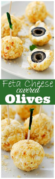 Feta Cheese-Covered Olives is a fun and incredibly flavorful appetizer made with olives covered in a feta cheese mixture and rolled in crushed hazelnuts.