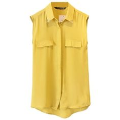 Women Loose Casual Semi Sheer Sleeveless Chiffon Top T-Shirt Blouse ($13) ❤ liked on Polyvore featuring tops, blouses, button down blouse, yellow button up shirt, chiffon shirt, yellow button down shirt and sleeveless chiffon blouse