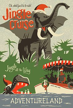 First Look: Jingle Cruise Props & Opening Dates at Disneyland Park and Magic Kingdom Park. I can't wait to see & experience the Jingle Cruise! Posters Disney Vintage, Disneyland Vintage, Retro Disney, Parc Disneyland, Disneyland Christmas, Disneyland California, Disney Love, Disneyland Opening, Disneyland 2017
