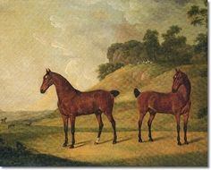 Francis Sartorius - Two Bay Carriage Horses Painting