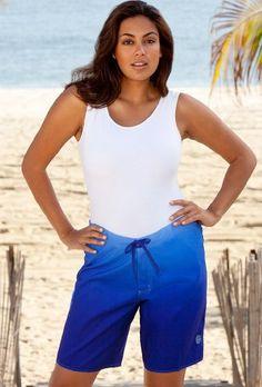 Beach Belle Royal Ombre Plus Size Long Board Short Women's Swimwear « Clothing Impulse