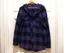 1990s grunge flannel shirt hoodie with drawstring / by EcoCentrik...buy more and SAVE  on shipping