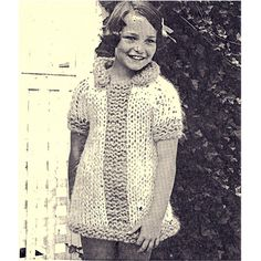 Easy Girls Dress Knitting Pattern on Big Needles -- Short sleeves with small collar and front panel stripe.