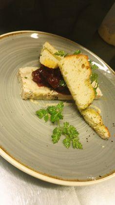 Chicken terrine w/ a spiced fruit chutney & foccacia