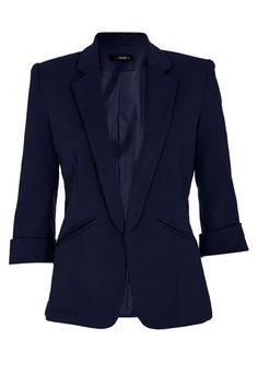 Quiz Navy 3/4 Sleeve Suit Jacket on shopstyle.co.uk
