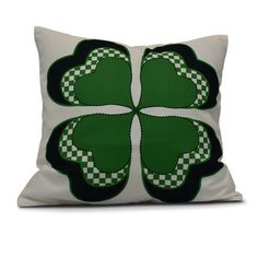 """The Holiday Aisle Funky Junky Leaf Clover Throw Pillow Size: 16"""" H x 16"""" W, Color: Green"""