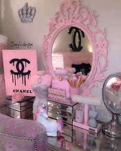 Find images and videos about pink, chanel and mirror on We Heart It - the app to get lost in what you love. Girl Bedroom Designs, Girls Bedroom, Bedroom Decor, Hot Pink Bedrooms, Bedroom Ideas, Cute Room Decor, Chanel Bedroom, Makeup Room Decor, Decorating Rooms