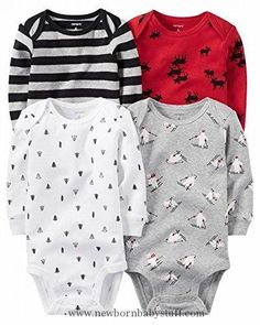 Baby Boy Clothes Carter's Baby Boys' Multi-Pk Bodysuits 126g459, Boy Holiday, 3M
