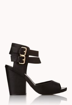 All-Day Block Heels | FOREVER21 Shoes so cute you want to wear them all day #Heels #FauxLeather