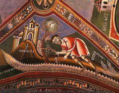 Life of St. Eldrado, abbot. 11th century fresco in Novalesa Abbey.