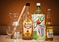 Beer Margaritas--the best margarita you will ever have...and it is so simple!  12 fluid oz. limeade frozen concentrate  12 fluid oz. 7UP (I like diet 7up)  12 fluid oz. beer (like Corona Light)  12 fluid oz. tequila  serve on the rocks w/ a lime wedge and enjoy! :)