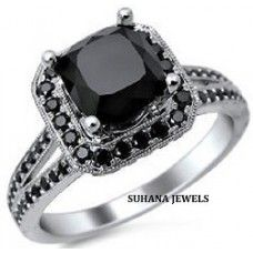 2.50 ct Natural Black Diamond Princess Cut Engagement Ring in 925 Sterling Silver