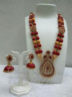 Necklace and earrings with stones of Diaspro handmade brass and silk