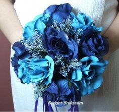 Wedding flowers in shades of blue.  #Blue #wedding #flowers #bouquet