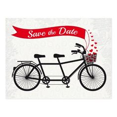 Peacock Wedding Save the Date Cards Tandem Bicycle Save the Date Hearts Postcard