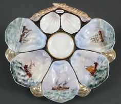 French 19C HP Ship Landscape Painting Oyster Plate