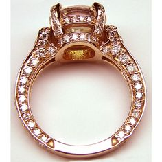 Engagement Ring - Large Round Diamond Cathedral Graduated pave Engagement Ring 1.25 tcw. In 14K Rose Gold - ES745BRRG