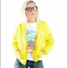 Yellow Windbreaker 1980s-1990s yellow windbreaker hoodie with draw strings. Vintage Jackets & Coats