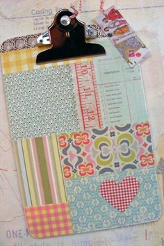 patchwork clipboard-- for craft show Fun Crafts, Diy And Crafts, Crafts For Kids, Arts And Crafts, Paper Crafts, Craft Tutorials, Craft Projects, Craft Ideas, Clipboard Crafts