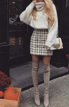 I'm loving this outfit for spring - baggy oversized turtleneck knit, paired with a high waisted a line skirt and thigh high suede boots. So cute!!