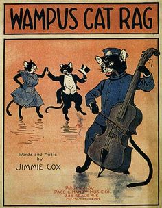 CAT PLAYING MUSIC DANCING DANCE WAMPUS CAT RAG SMALL VINTAGE POSTER CANVAS REPRO