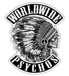 "Logo ""Worldwide Psychos"" - USA - New York - Copyright David Vicente © Image Tatoo, Indian Skull, Pix Art, Hd Wallpaper Android, Skull Fashion, Harley, Psychobilly, Photoshop, Skull Art"
