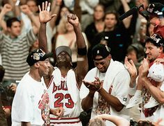 Scottie Pippen, Michael Jordan, Dennis Rodman, and Toni Kukoc