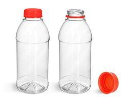 Plastic Bottles, Clear PET Beverage Bottles w/ Red Tamper Evident Caps from SKS Bottle and Packaging