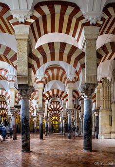 Mosque-Cathedral of Córdoba, Spain. Visigothic Catholic Church from 600; Islam (784–1236) Catholic Church (1236–present)
