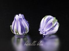 Ink Purple Tulip Pair - Handmade Artisan Glass Beads