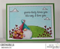 www.stampingbella.com: RUBBER STAMPS USED: LOVEY GNOMES, LOVE BACKDROP, card by CHRISTINE LEVISON