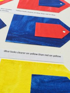 some embroidery and fabric combinations work better than others; ie working with blue thread on a red fabric will not have the same clarity or impact that a blue thread has when worked on yellow fabric.