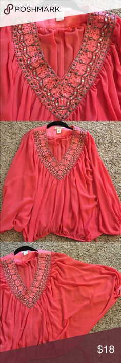 Beautiful bohemian salmon pink top This is so gorgeous. Flattering and sexy. Last pic shows small snag that caught the fabric making a pull like in a stocking. But when on u cannot notice it at all bc of all the fabric . From Arden b, not FP Free People Tops Blouses