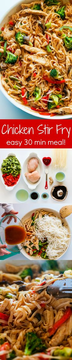 Chicken Stir Fry with Rice Noodles is an easy and delicious weeknight meal loaded with healthy ingredients. A one-pan, 30 minute chicken stir fry recipe. More tasty recipes on my Savory Recipes board!