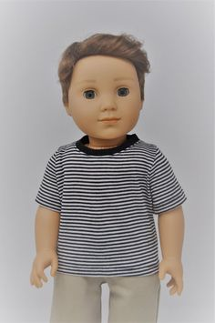 Lovvbugg Navy Blue Polo T Shirt for 18 inch Doll Clothes American Girl Boy Baby