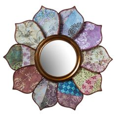 Add a pop of color to your bedroom wall with this decoupage-inspired round mirror, showcasing a flower silhouette and array of patterned petals....